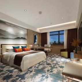 新中式酒店客房3D模型【ID:735479379】