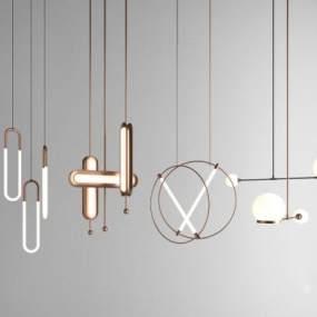 現代吊燈組合3D模型【ID:749245887】