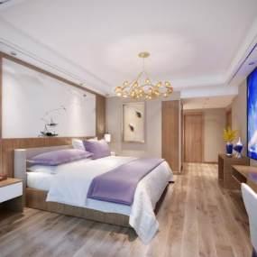 新中式酒店客房卧室3D模型【ID:743408323】