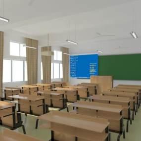 中式現代教室3D模型【ID:952574652】