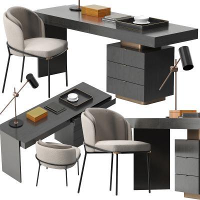 现代意大利Minotti书桌椅3D模型【ID:843691812】