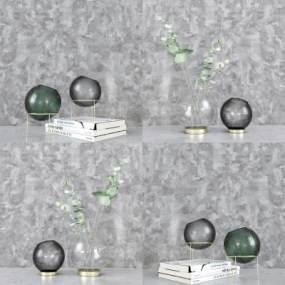 现代花瓶书本摆件组合3D模型【ID:250649579】