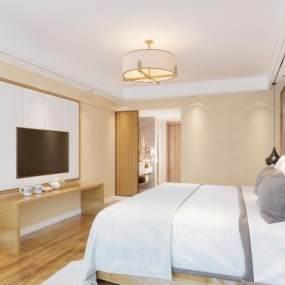 新中式酒店客房卧室3D模型【ID:743408370】