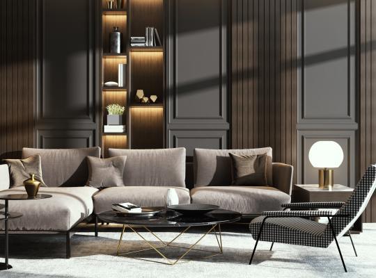 现代沙发茶几组合3D模型【ID:650435729】