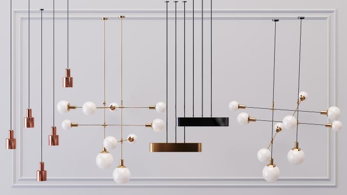 现代金属吊灯3D模型【ID:753438800】