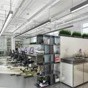 现代简约开敞式办公区3D模型【ID:933039060】