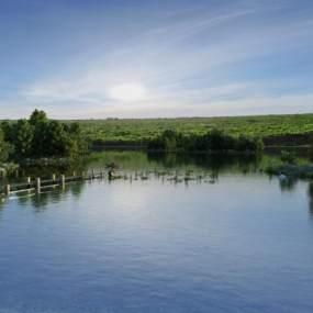 现代景观湖3D模型【ID:844106749】