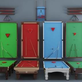 简欧台球台球桌组合3D模型【ID:331617825】