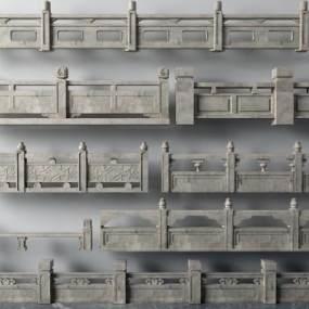 传统中式楼梯栏杆扶手3D模型【ID:335481515】
