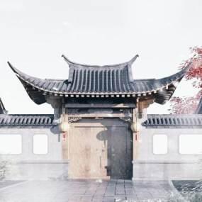 中式大門3D模型【ID:246549454】