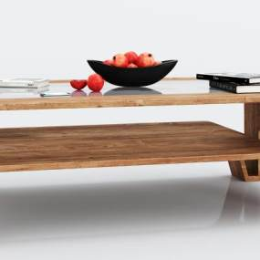 现代实木玻璃茶几组合3D模型【ID:634758820】