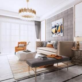 现代简约客厅地毯吊灯台灯电视装饰画3D模型【ID:541424001】