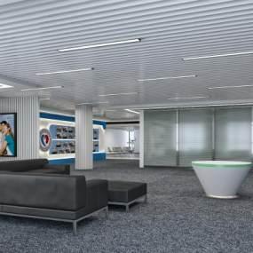 现代简约公司展厅3D模型【ID:932487741】