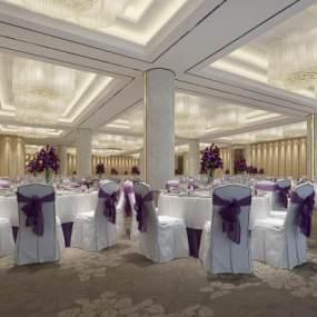 新中式酒店宴会厅3D模型【ID:734472289】