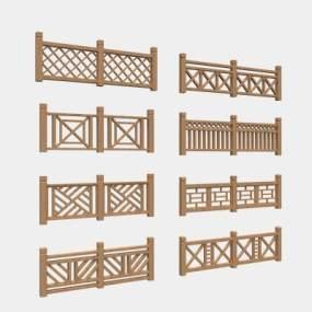 现代栏杆3D模型【ID:132714422】