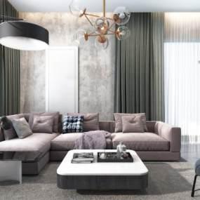 现代轻奢布艺转角沙发组合3D模型【ID:633131796】