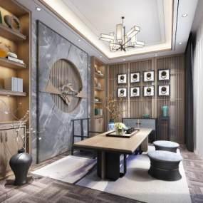 新中式茶室书房吊灯地毯绿植3D模型【ID:637155124】