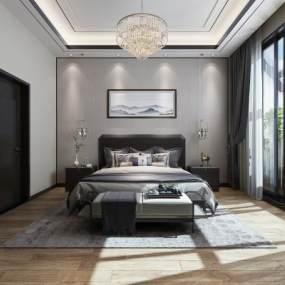 新中式卧室3D模型【ID:549246228】