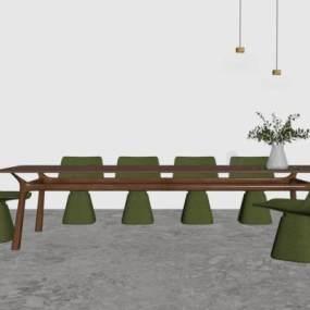 现代餐桌椅组合3D模型【ID:753984125】