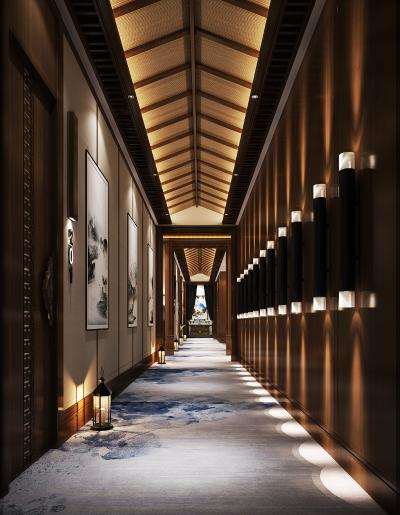 新中式酒店走廊3D模型【ID:741650455】