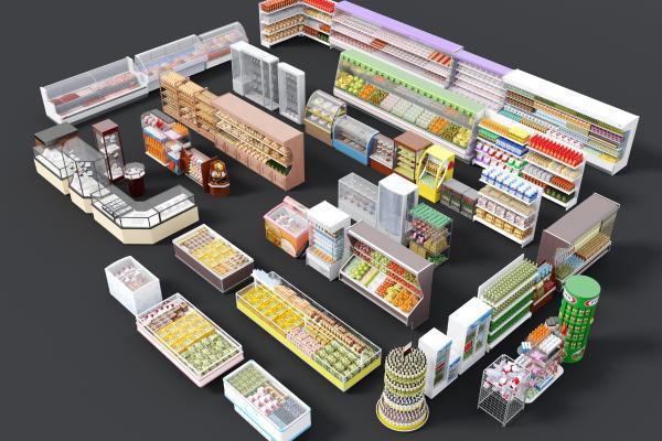 現代超市配套3D模型【ID:150229135】