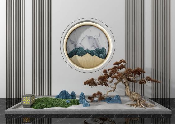 新中式園藝小品背景牆3D模型【ID:153322425】