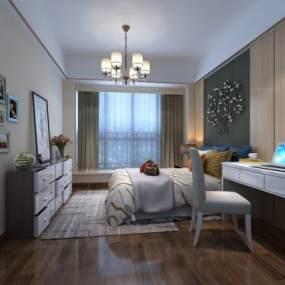 現代臥室3D模型【ID:534817206】