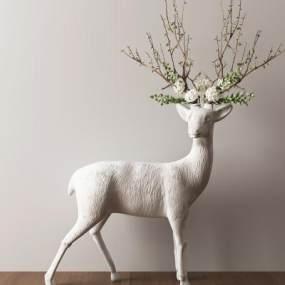 现代鹿雕塑摆件3D模型【ID:332839110】