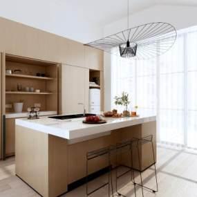 现代厨房橱柜吧台吧椅组合3D模型【ID:530432335】