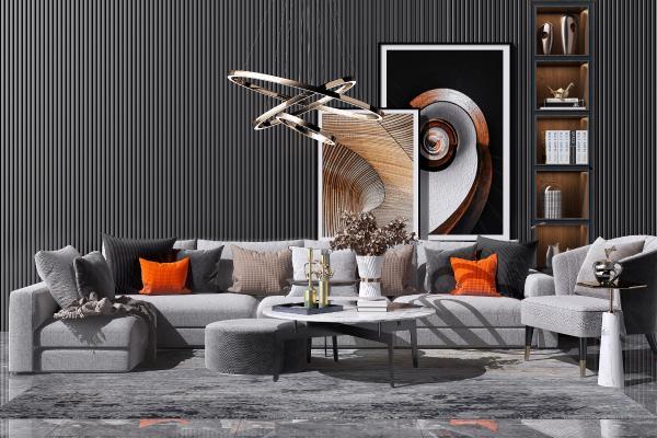 现代布艺转角沙发茶几组合3D模型【ID:649097737】