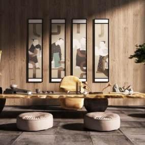 中式茶室茶几餐桌椅组合 3D模型【ID:236224585】