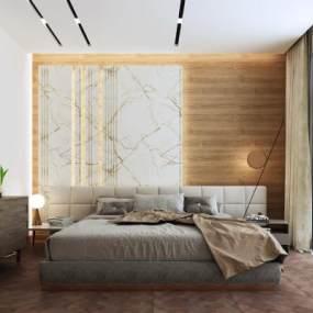现代简约卧室装饰画台灯3D模型【ID:536081223】
