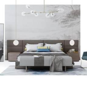 现代床具组合3D模型【ID:653087107】