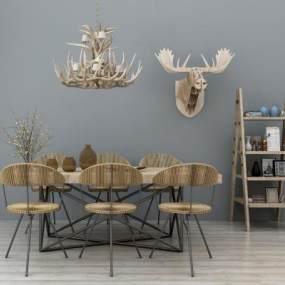 美式餐桌椅置物架吊灯组合3D模型【ID:831769837】