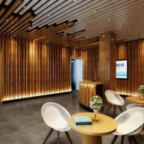现代办公室接待大厅3D模型【ID:945340207】