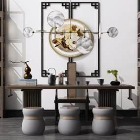 新中式书桌椅组合3D模型【ID:950299017】