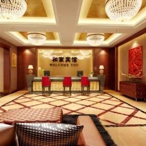 现代酒店接待大堂3D模型【ID:735668053】