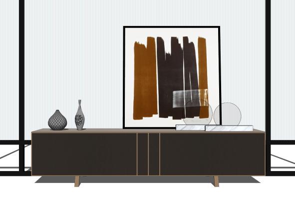 现代电视柜装饰画摆件组合SU模型【ID:253383160】