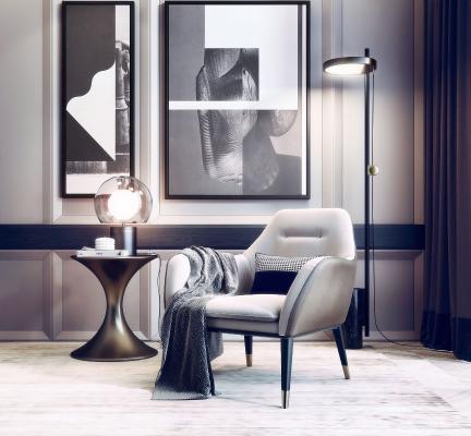現代輕奢單人休閑沙發3D模型【ID:646224621】