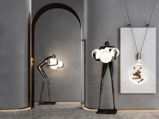 現代人物雕塑落地燈3D模型【ID:851400272】