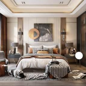 现代卧室3D模型【ID:548905243】