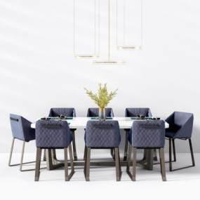 現代餐桌椅3D模型【ID:843254846】