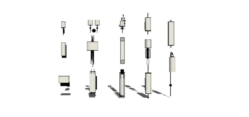 現代金屬壁燈1SU模型【ID:347731985】