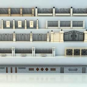 欧式围墙大门院墙围墙3D模型【ID:236270114】