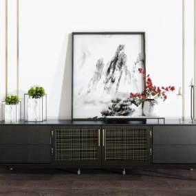 新中式电视柜挂画装饰品组合3D模型【ID:935951922】
