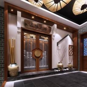新中式茶楼过道3D模型【ID:632239613】