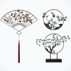 新中式禪意鐵藝墻飾壁飾組合3D模型【ID:252290772】