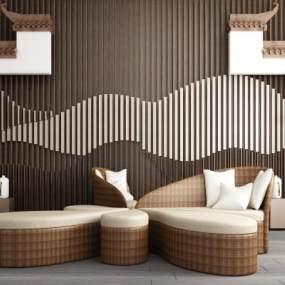 新中式马头墙背景墙异形休闲沙发组合3D模型【ID:943317674】