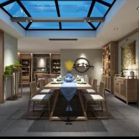 新中式茶室3D模型【ID:653706141】