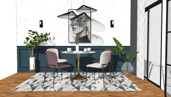 北欧休闲餐桌椅组合SU模型【ID:653303647】